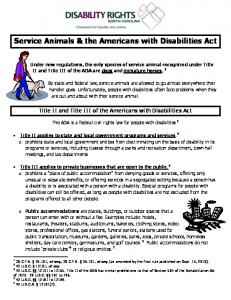 Service Animals & the Americans with Disabilities Act