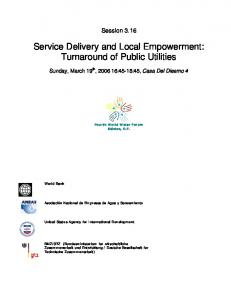 Service Delivery and Local Empowerment: Turnaround of Public Utilities