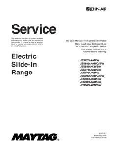 Service. Electric Slide-In Range