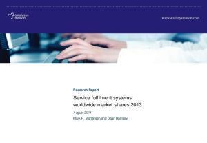 Service fulfilment systems: worldwide market shares 2013