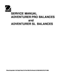SERVICE MANUAL ADVENTURER PRO BALANCES and ADVENTURER SL BALANCES