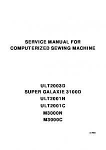 SERVICE MANUAL FOR COMPUTERIZED SEWING MACHINE