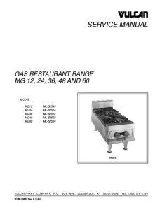 SERVICE MANUAL MG 12, 24, 36, 48 AND 60 GAS RESTAURANT RANGE MODEL MG12
