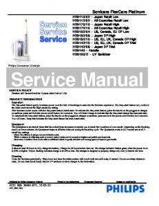 Service Manual. Sonicare FlexCare Platinum