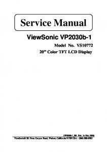 Service Manual. ViewSonic VP2030b-1. Model No. VS Color TFT LCD Display