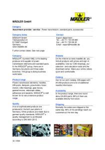 service: Power transmission, standard parts, accessories