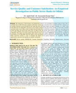 Service Quality and Customer Satisfaction: An Empirical Investigation on Public Sector Banks in Odisha