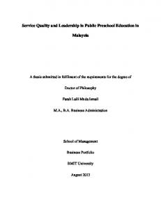 Service Quality and Leadership in Public Preschool Education in. Malaysia