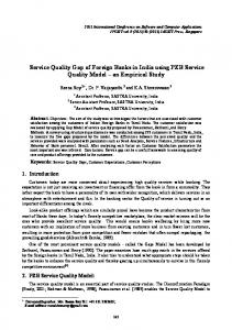 Service Quality Gap of Foreign Banks in India using PZB Service Quality Model an Empirical Study