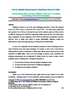 Service Quality Measurement in Healthcare Sector in India