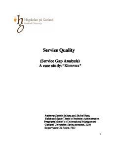 Service Quality. (Service Gap Analysis) A case study- Komvux