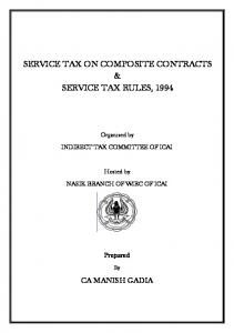 SERVICE TAX ON COMPOSITE CONTRACTS & SERVICE TAX RULES, 1994