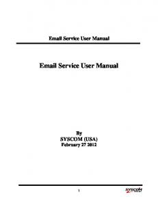 Service User Manual.  Service User Manual