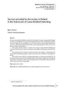Services provided to the society in Poland in the framework of Cause Related Marketing