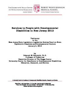 Services to People with Developmental Disabilities in New Jersey 2012