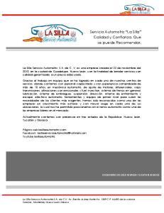 Servicio Automotriz La Silla Calidad y Confianza, Que se puede Recomendar