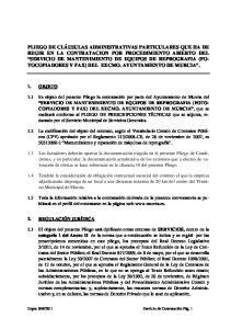 SERVICIO DE MANTENIMIENTO DE EQUIPOS DE REPROGRAFIA (FOTO- COPIADORES Y FAX) DEL EXCMO. AYUNTAMIENTO DE MURCIA