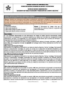 SERVICIO NACIONAL DE APRENDIZAJE SENA MODELO DEL SISTEMA INTEGRADO DE GESTION Y AUTOCONTROL CENTRO DE GESTION ADMINISTRATIVA