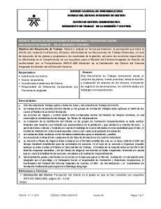 SERVICIO NACIONAL DE APRENDIZAJE SENA MODELO DEL SISTEMA INTEGRADO DE GESTION CENTRO DE GESTION ADMINISTRATIVA