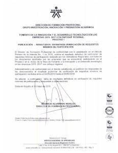 SERVICIO NACIONAL DE APRENDIZAJE SENA PUBLICACION DEFINITIVA DE RESULTADOS DE VERIFICACION DE REQUISITOS MINIMOS DE PARTICIPACION