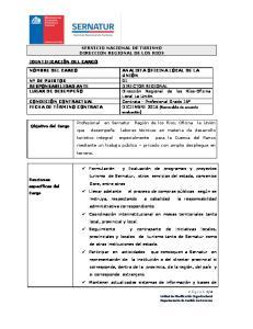 SERVICIO NACIONAL DE TURISMO DIRECCION REGIONAL DE LOS RIOS