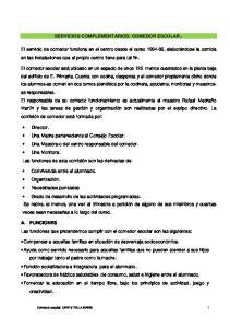 SERVICIOS COMPLEMENTARIOS: COMEDOR ESCOLAR