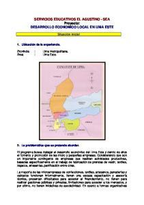 SERVICIOS EDUCATIVOS EL AGUSTINO - SEA Proyecto: DESARROLLO ECONOMICO LOCAL EN LIMA ESTE
