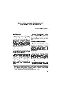 SERVICIOS PARA EXPORTADORES Y EXPORTACION DE SERVICIOS