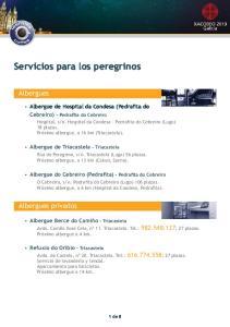 Servicios para los peregrinos