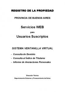 Servicios WEB. Usuarios Suscriptos