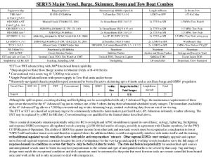 SERVS Major Vessel, Barge, Skimmer, Boom and Tow Boat Combos