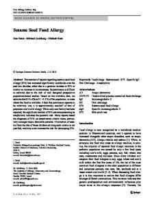 Sesame Seed Food Allergy