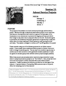 Session 13: Advent Service Projects
