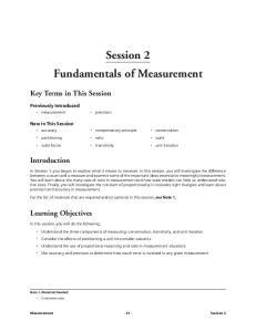 Session 2 Fundamentals of Measurement