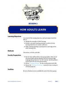 SESSION 2 HOW ADULTS LEARN