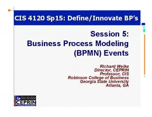 Session 5: Business Process Modeling (BPMN) Events