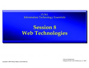 Session 8 Web Technologies