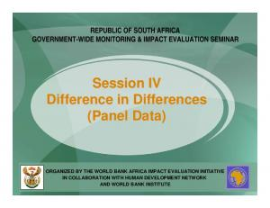 Session IV Difference in Differences (Panel Data)