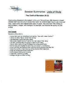 Session Summaries: Units of Study
