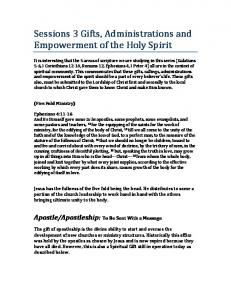 Sessions 3 Gifts, Administrations and Empowerment of the Holy Spirit