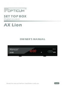 SET TOP BOX. Digital receiver. AX Lion OWNER'S MANUAL. English. Read this manual before installation and use