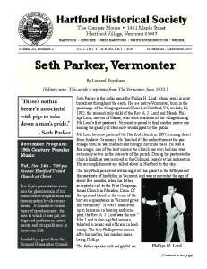Seth Parker, Vermonter