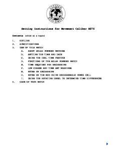 Setting Instructions for Movement Caliber B876