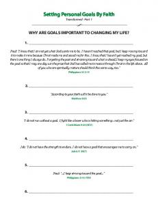Setting Personal Goals By Faith Transformed - Part 1