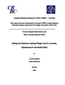 Setting the Minimum Optimal Wage Level in Armenia: Adjustments in the Social Policy