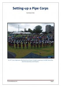 Setting-up a Pipe Corps