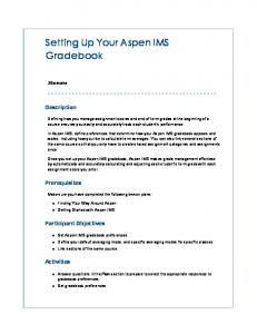 Setting Up Your Aspen IMS Gradebook