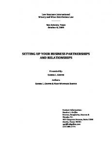 SETTING UP YOUR BUSINESS PARTNERSHIPS AND RELATIONSHIPS
