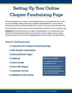 Setting Up Your Online Chapter Fundraising Page
