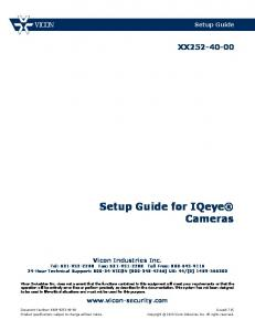 Setup Guide for IQeye Cameras XX Setup Guide